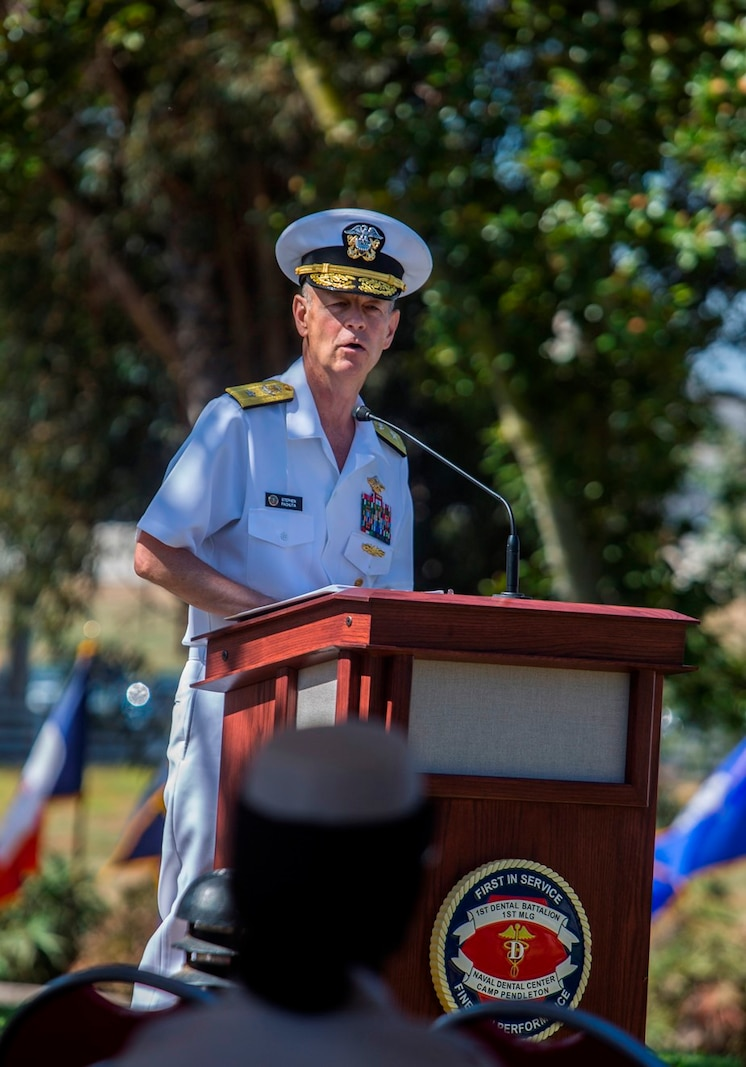 U.S. Navy Rear Adm. Stephen M. Pachuta, the Medical Officer of the Marine Corps, gives his remarks to the Marines, Sailors, family and friends attending the Dental Battalion change of charge ceremony at Camp Pendleton, Calif., Aug. 26, 2017. Pachuta noted how far Den Bn has come during Capt. Peter A. Ruocco's three years in command.  His leadership and acumen contributed to the accomplishments of 1st Dental Battalion. (U.S. Marine Corps photo by Lance Cpl. Joseph Sorci)