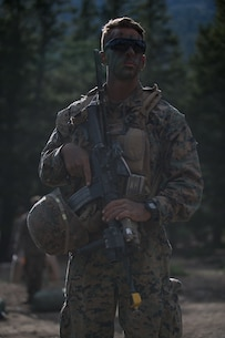 U.S. Marine Sgt. Cory Espejo, a machine gunner with 2d Battalion, 8th Marine Regiment, 2d Marine Division poses for a portrait during Mountain Training Exercise 4-17 at Mountain Warfare Training Center, August 6, 2017. Marines with 2d Battalion, 8th Marines utilizes the transportation capabilities of Combat Logistics Battalion 5. (U.S. Marine Corps photo by Lance Cpl. Timothy Shoemaker)