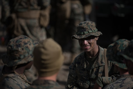 U.S. Marines with 2d Battalion, 8th Marine Regiment, 2d Marine Division, socialize among themselves during Mountain Training Exercise 4-17 at Mountain Warfare Training Exercise, August 6, 2017. Mountain Training Exercise was a joint training exercise between Combat Logistics Battalion 5 and 2-8 to increase the forces' capabilities in mountainous terrain. (U.S. Marine Corps photo by Lance Cpl. Timothy Shoemaker)
