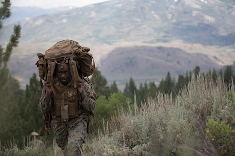 A U.S. Marine with 2d Battalion, 8th Marine Regiment, 2d Marine Division, carries his main pack up multiple hills during Mountain Training Exercise 4-17 at Mountain Warfare Training Center, August 6, 2017. Marines with 2d Battalion, 8th Marine Regiment conducted multiple training events such as conditioning hikes, simulating attacking the enemy, rope climbing, and more. (U.S. Marine Corps photo by Lance Cpl. Timothy Shoemaker)