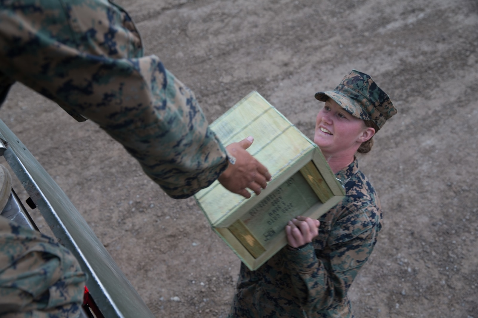 U.S. Marine Pfc. Olivia Rutherford, an ammunition technician with Combat Logistics Battalion 5, Combat Logistics Regiment 1, 1st Marine Logistics Group, carries a box of 5.56 blank ammunition during Mountain Training Exercise 4-17 at Marine Corps Mountain Warfare Training Center, August 3, 2017. Marines with CLB-5 participating in the Mountain Training Exercise received more than 9,000 rounds of blank ammunition. (U.S. Marine Corps photo by Lance Cpl. Timothy Shoemaker)