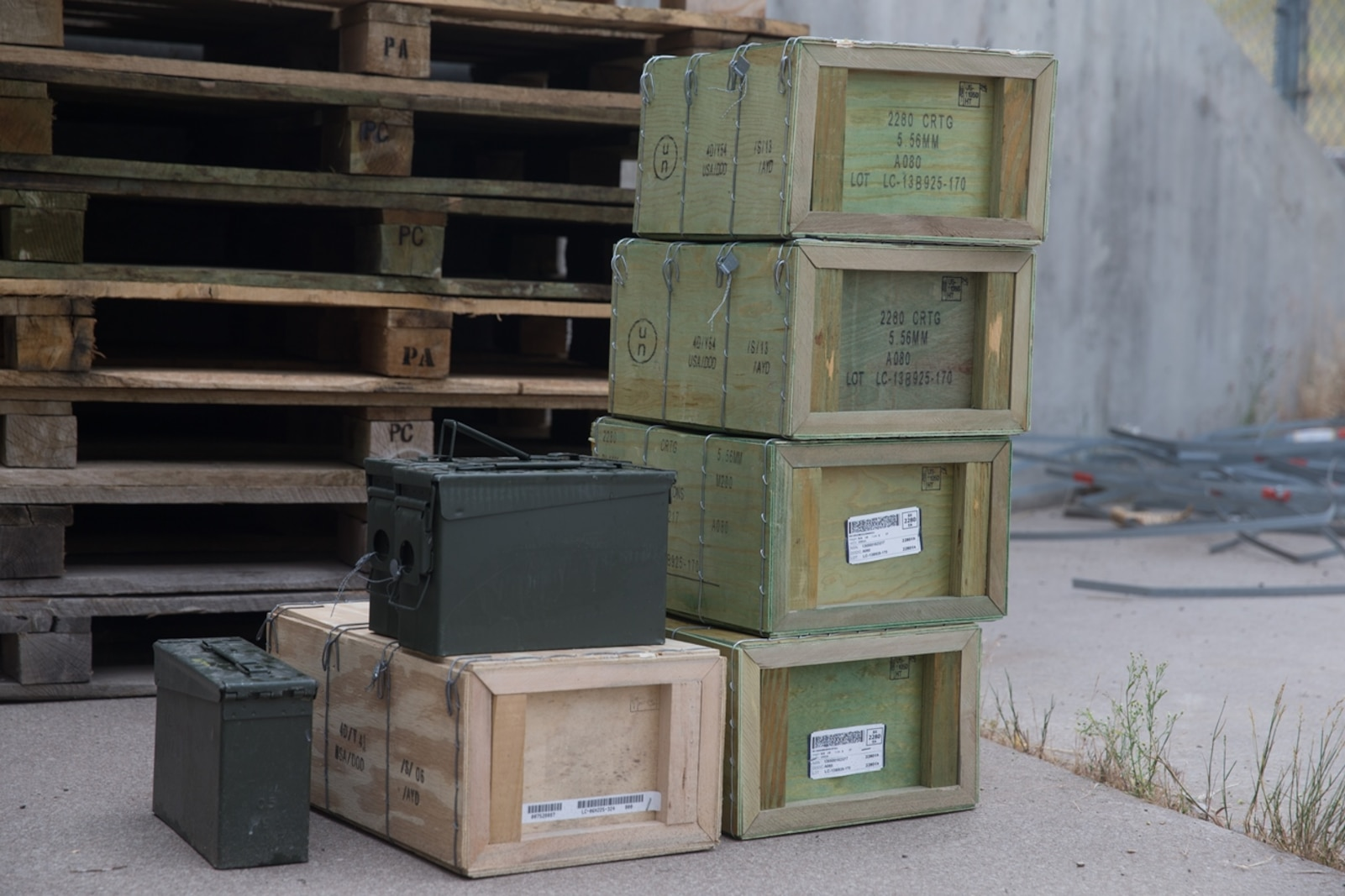 Blank ammunition is being prepared for transportation to the Marines with Combat Logistics Battalion 5, Combat Logistics Regiment 1, 1st Marine Logistics Group, who will utilize the ammunition for Mountain Training Exercise 4-17 at Marine Corps Mountain Warfare Training Center, August 3, 2017. The blank ammunition will be used by Marines participating in convoy exercises which may involve simulated enemy ambushes. (U.S. Marine Corps photo by Lance Cpl. Timothy Shoemaker)