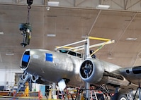 DAYTON, Ohio (Aug. 16, 2017) -- Museum restoration crews and 88th ABW civil engineers work to install the upper turret of the B-17F Memphis Belle™ in preparation for the exhibit opening. Plans call for the aircraft to be on public display here at the National Museum of the U.S. Air Force on May 17, 2018. (U.S. Air Force photo by Ken LaRock)