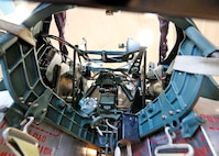 DAYTON, Ohio (Aug. 16, 2017) -- An interior view of the upper turret of the B-17F Memphis Belle™ in the museum's restoration hangar. Plans call for the aircraft to be on public display here at the National Museum of the U.S. Air Force on May 17, 2018. (U.S. Air Force photo by Don Popp)