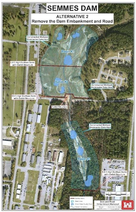 Semmes Lake Alternative 2 - Remove the Dam Embankment and Road
