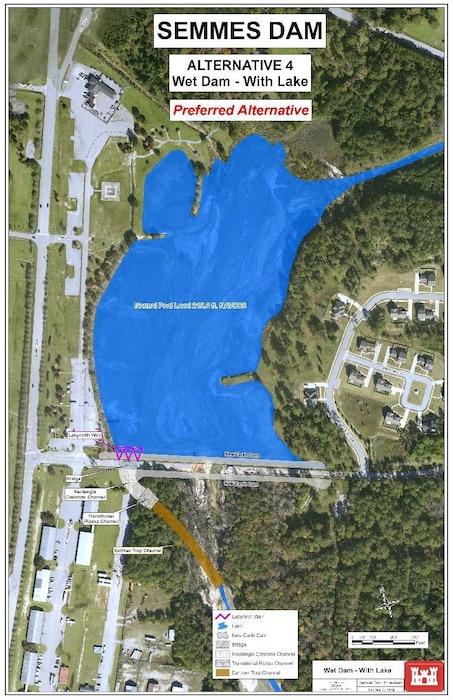 Semmes Lake Alternative 4 - Wet Dam with Lake