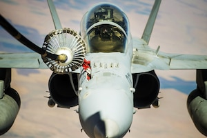 A fighter aircraft receives fuel over Syria.