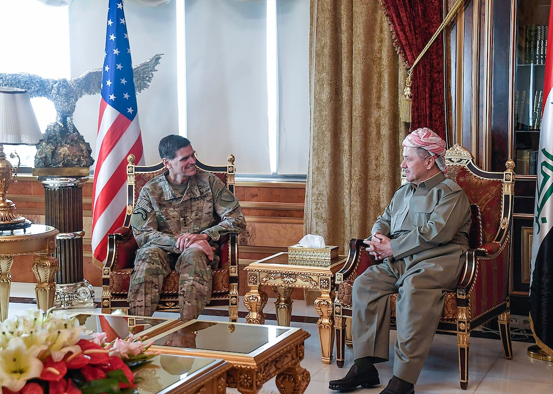 Erbil, Iraq--U.S. Army Gen Joseph L. Votel, commander United States Central Command, meets with Masoud Barzani, President of the Kurdistan Region in Iraq during his visit to Iraq August 17, 2017. During his visit Votel had the opportunity to meet with key Iraqi leaders to include the Iraqi Prime Minister, the Chairman of Defense and the Minister of Defense. (Department of Defense photo by U.S. Air Force Tech Sgt. Dana Flamer)