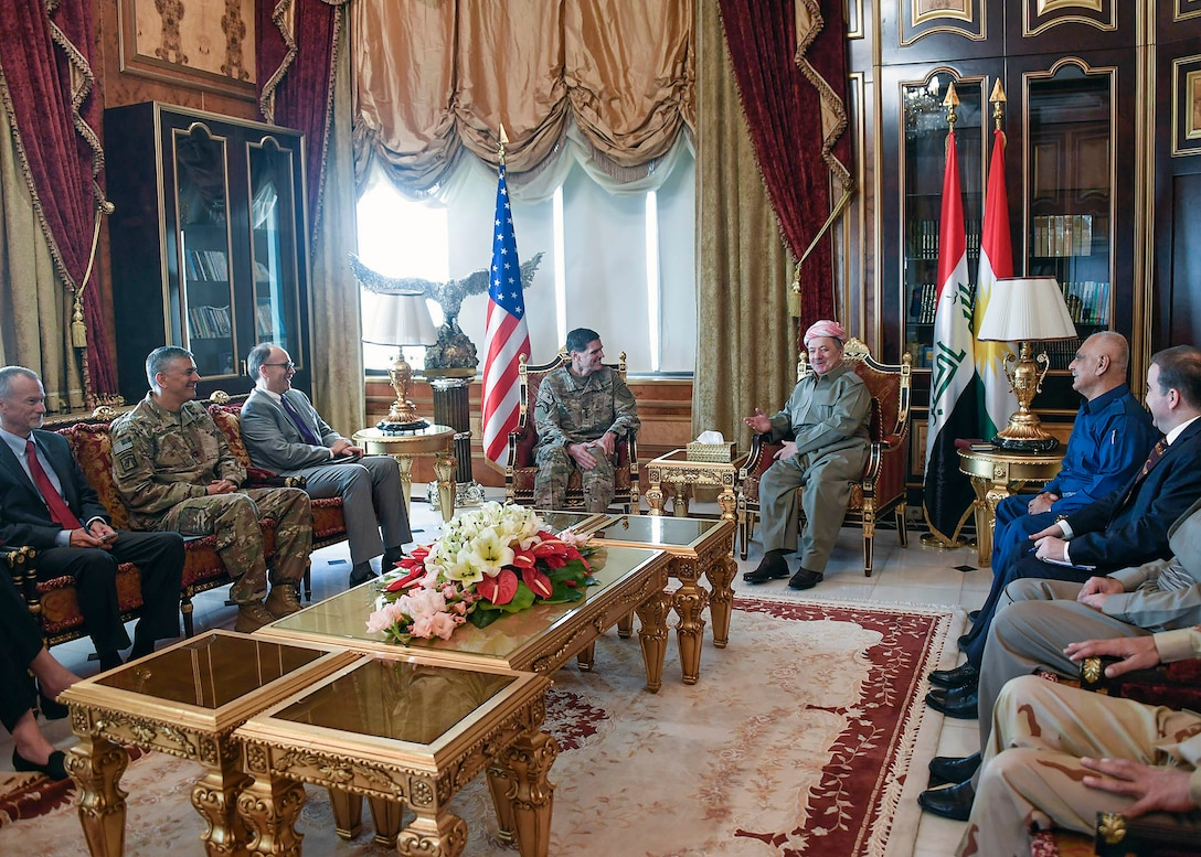 Erbil, Iraq--U.S. Army Gen Joseph L. Votel, commander United States Central Command, meets with Masoud Barzani, President of the Kurdistan Region in Iraq during his visit to Iraq August 17, 2017. During the meeting Votel and Barzani discussed Kurdish and Iraqi relations. (Department of Defense photo by U.S. Air Force Tech Sgt. Dana Flamer)
