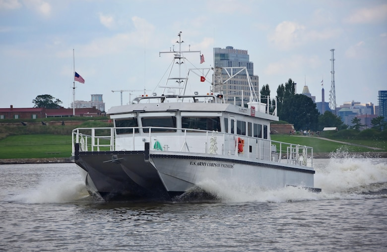 The newly-constructed Survey Vessel CATLETT pictured August 16, 2017, in front of the Fort McHenry National Monument and Historic Shrine with part of downtown Baltimore visibile in the background. Survey Vessel CATLETT, named after the late Harold Catlett, a longtime hydrographic surveyor with the U.S. Army Corps of Engineers, Baltimore District, will support Baltimore District's navigation mission, including conducting hydrographic surveys of channels associated with the Port of Baltimore.