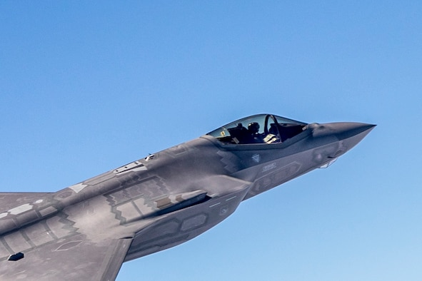 An F-35 piloted by Lt. Col. Tucker Hamilton prepares for a dual Aim-120 missile launch over the Pacific Ocean range near NAWS Point Mugu. (Photo by Darin Russell/Lockheed Martin)