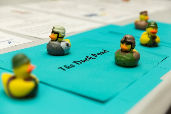 Military rubber ducks, part of the Defense Language Institute safety campaign, are displayed for viewing during an award ceremony at Joint Base San Antonio-Lackland, Texas Aug. 4, 2017. The ducks were used as a trophy system for the ten-week safety camping that DLI held.