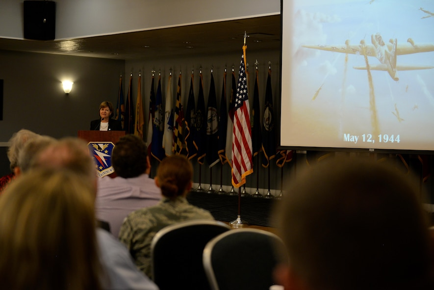 Justice Sharon Lee, from the Tennessee Supreme Court, shares her father's story with an audience Aug. 11, 2017, on Columbus Air Force Base, Mississippi, during the Base Community Council luncheon. Her father was shot in the head, shoulder, back and wrist during a bombing mission while on board a B-17 Flying Fortress. Some shrapnel was left in his body for his entire life. (U.S. Air Force photo by Airman 1st Class Keith Holcomb)
