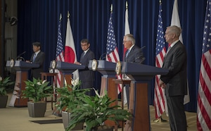 Japanese Defense Minister Itsunori Onodera, Japanese Foreign Minister Taro Kono, Secretary of State Rex Tillerson and Defense Secretary Jim Mattis host a joint news conference.