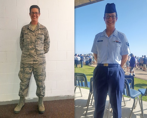 Airman 1st Class Kristyn Kline, Top Basic Military Training Graduate, poses for a photo in her Airman Battle Uniform (left) and her Air Force blues uniform (right)