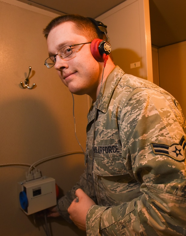 Airman 1st Class Jarret Berggren, the lone Public Health technician in the Base Operational Medicine Clinic Cell, is this week's Test Warrior of the Week. (U.S. Air Force photo by Joseph Pol Sebastian Gocong)