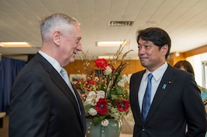 Defense Secretary Jim Mattis, left, greets Japanese Defense Minister Itsunori Onodera at the State Department.