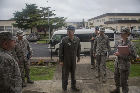 Lt. Gen. Jerry P. Martinez, the U.S. Forces Japan and 5th Air Force commander, meets with Airmen from Misawa Air Base, Japan.