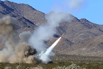 U.S. Marines with 5th Battalion, 11th Marine Regiment, Regimental Combat Team-8 fire an M142 High-Mobility Artillery Rocket System  during Large Scale Exercise  2017 at Marine Corps Air Ground Combat Center, Twentynine Palms, Calif., Aug. 16, 2017. LSE-17 is a multinational exercise, led by 2nd Marine Division, with elements from the United Kingdom, France, Canada, and II Marine Expeditionary Force, focused on integrating all capabilities of the Marine Air-Ground Task Force and coalition forces.