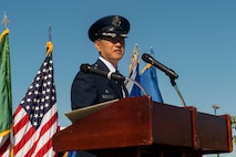 U.S. Air Force Col. Peter P. Feng, incoming 65th Air Base Group commander, speaks during a change of command ceremony on Lajes Field, Portugal, Aug. 16, 2017. Feng received command of the 65th ABG from U.S. Air Force Col. Daniel. C. Furleigh, 65th ABG outgoing commander, during the ceremony. (U.S. Air Force photo by Senior Airman Tryphena Mayhugh)