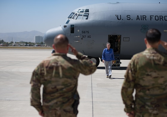 Secretary of the Air Force Heather Wilson arrives on the flightline at Kabul Air Wing Aug. 17, 2017, in Kabul, Afghanistan. Wilson travelled to Kabul to meet Airmen assigned to Train, Advise, Assist Command-Air who work side-by-side with their Afghan counterparts as they expand operational capabilities of the Afghan Air Force. (U.S. Air Force photo by Staff Sgt. Alexander W. Riedel)