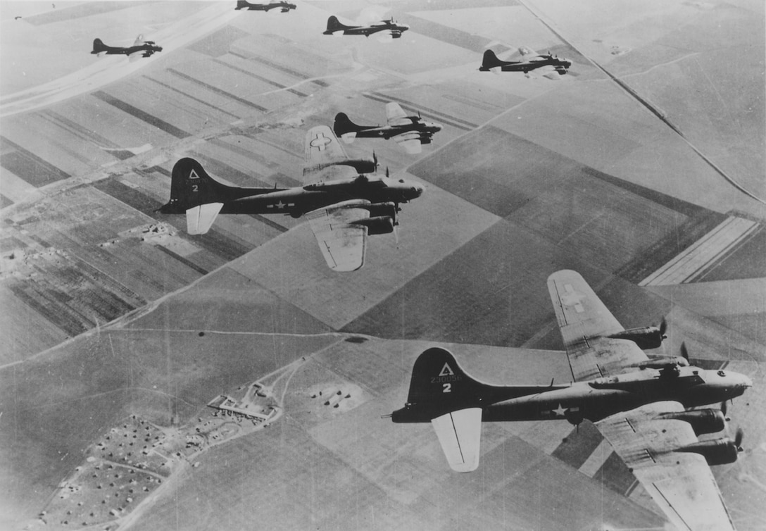 Elements of the 97th Bomb Group, Eighth Air Force, arrived at Royal Air Force High Wycombe, England on May 12, 1942.  On August 17, 1942, three months later, 12 B-17s from the 97 BG, led by then Major Paul Tibbets, carried out the first high altitude AAF heavy bomber raid over Europe against the railroad marshalling yards at Rouen-Sotteville, France.