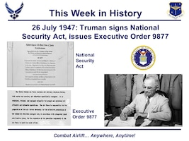 President Truman sitting at desk signing act.
