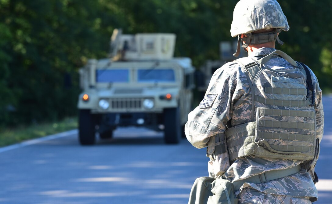 U.S. Air Force Tech. Sgt. Justin Nutter, a 509th Security Forces Squadron flight chief, controlled entry during an exercise at Whiteman Air Force Base, Mo., Aug. 4, 2017. An entry control point was stood up to account for all response force personnel in the simulated danger area.
