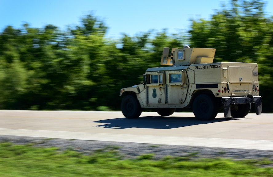 A Humvee rushes in response to an exercise at Whiteman Air Force Base, Mo., Aug. 4, 2017. The 509th Security Forces Squadron performs routine exercises in order to hone their response to various potential real-world scenarios.