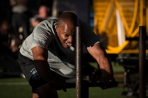 Chief Master Sergeant of the Air Force Kaleth O. Wright works out with Special Tactics Airmen at Hurlburt Field, Fla., Aug. 11, 2017. Special Tactics Airman are ground special operators who train to execute missions across the globe in austere and hostile area, as Special Operation Command's air/integration force. (U.S. Air Force photo/Airman 1st Class Joseph Pick)