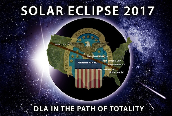 Solar Eclipse and Falling Stars Illustration.  Moon Passes Between the Sun and the Earth. Horizontal Solar Eclipse Illustration.