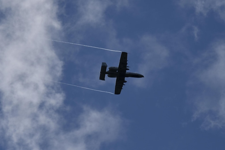 An A-10C Thunderbolt II aircraft participates in a training exercise Aug. 14, 2017, at Tapa Range, Estonia. The flying training deployment is funded by the European Reassurance Initiative in support of Operation Atlantic Resolve. The U.S. Air Force's forward presence in Europe allows the U.S. to work with allies and partners to develop and improve ready air forces capable of maintaining regional security. (U.S. Air National Guard photo by Airman 1st Class Sarah M. McClanahan)