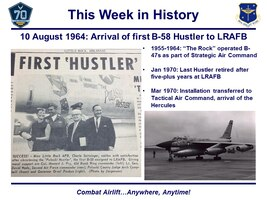 There is a newsclip about the first Hustler to arrive at LRAFB, and there's a black and white photo of the bomber itself.