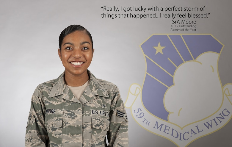 Senior Airman Nicole Moore, 59th Medical Wing medical technician, was recognized as one of the Air Force 12 Outstanding Airmen of the Year for 2017, July 7th, 2017.  An Air Force selection board at the Air Force Personnel Center considered 36 nominees who represented major commands, direct reporting units, field operating agencies and Headquarters Air Force. The board selected the final 12 Airmen based on superior leadership, job performance and personal achievements. (U.S. Air Force image by Senior Airman Stefan Alvarez)