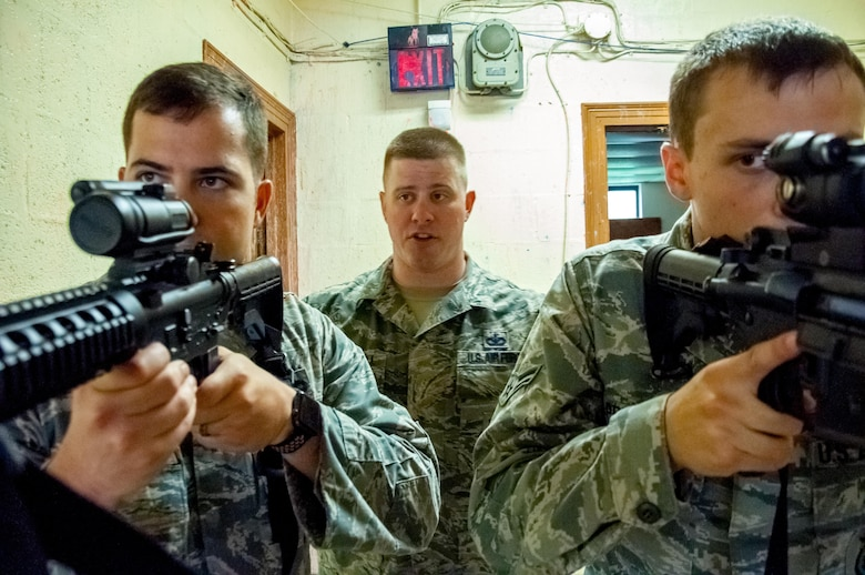 DAYTON, Ohio – Staff Sgt. Malcolm MacDougall, 88th Security Forces Squadron unit instructor (center), has Staff Sgt. Kyle Brophy (left) and Airman 1st Class Grant Prescott practice proper shouldering technique before conducting a walkthrough