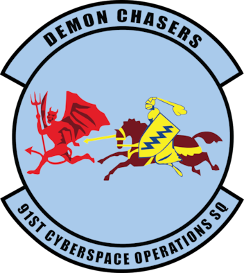 Emblem for 91st Cyberspace Operations Squadron, 67th Cyberspace Wing, 24th Air Force.