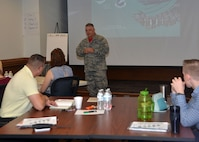 Col. Ken Eaves, commander of the 131st Bomb Wing at Whiteman Air Force Base, Mo., addresses Airmen attending the newly-implemented Mentoring for Results course at Jefferson Barracks, Aug 6, 2017. (U.S. Air National Guard photo by Master Sgt. Traci Howells)