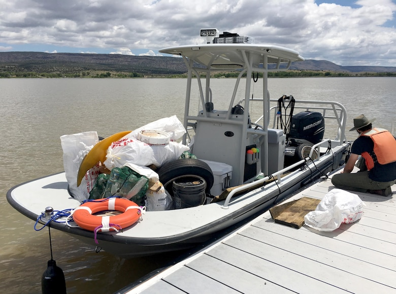 "COCHITI LAKE, N.M. – During the ""Cochiti Sweep"" event Aug. 12, 2017, Cochiti park rangers provided a safety boat which doubled as a trash collection point."