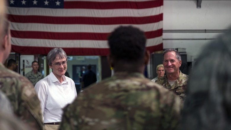 Secretary of the Air Force Heather Wilson and Air Force Chief of Staff Gen. David L. Goldfein, speak with Airmen from the 380th Air Expeditionary Wing on Aug. 18, 2017, at Al Dhafra Air Base, United Arab Emirates.