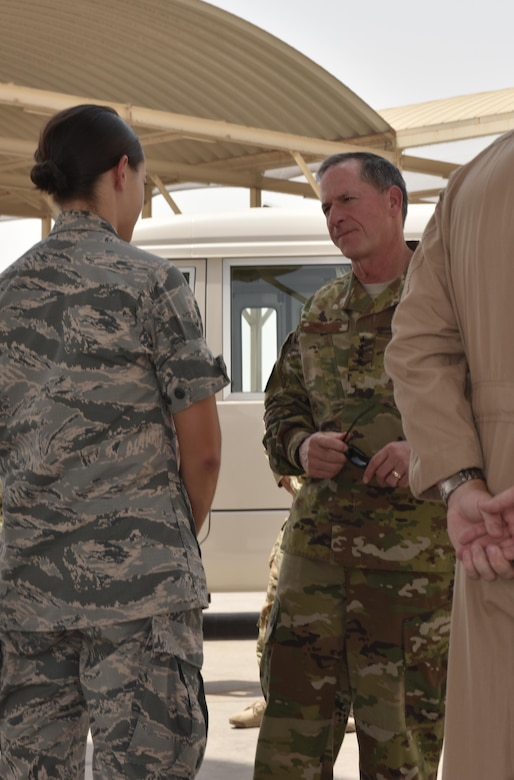 Lt. Erin Shelhorse, officer in charge of the 27th Expeditionary Aircraft Maintenance Unit, speaks with Air Force Chief of Staff Gen. David L. Goldfein at Al Dhafra Air Base, United Arab Emirates, Aug. 18, 2017.