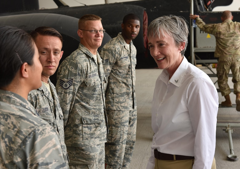 Secretary of the Air Force Heather Wilson speaks with Airmen during a visit to Al Dhafra Air Base, United Arab Emirates, Aug. 18, 2017.