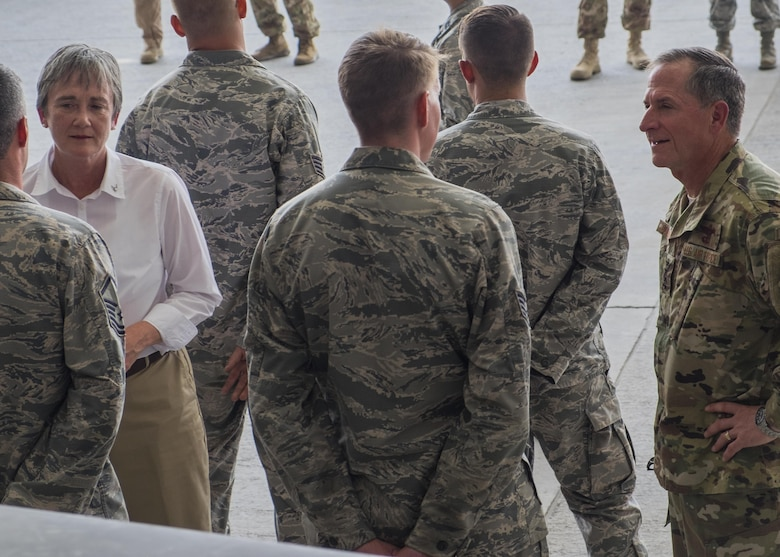 Secretary of the Air Force Heather Wilson, left, and Air Force Chief of Staff Gen. David L. Goldfein speak with Airmen from the 380th Air Expeditionary Wing Aug. 18, 2017, Al Dhafra Air Base, United Arab Emirates.