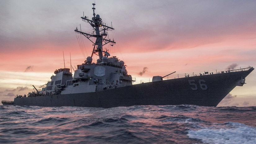USS John S. McCain sails in South China Sea.