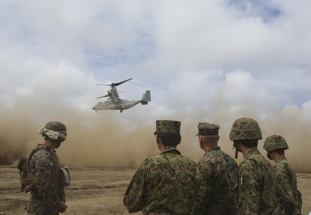 U.S. Marines and members of the Japan Ground Self-Defense Force watch as the MV-22 Osprey takes off Aug. 18, 2017, in Hokudaien, Japan, marking the first time the Osprey landed in northern Japan. U.S. Marine Corps Col. James Harp, the Marine Air-Ground Task Force commander of Northern Viper 17, and Japan Ground Self-Defense Force Col. Iwana, deputy commander of Northern Army 11th Brigade particpated in a joint interview to discuss the Osprey's capabilities. This aircraft allows Marines to have the ability to rapidly respond to any contingency worldwide.