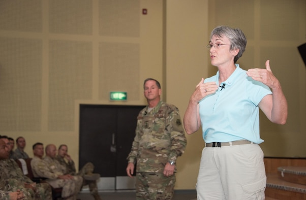 Wilson and Goldfein visited deployed Airmen assigned to the U.S. Central Command area of responsibility.