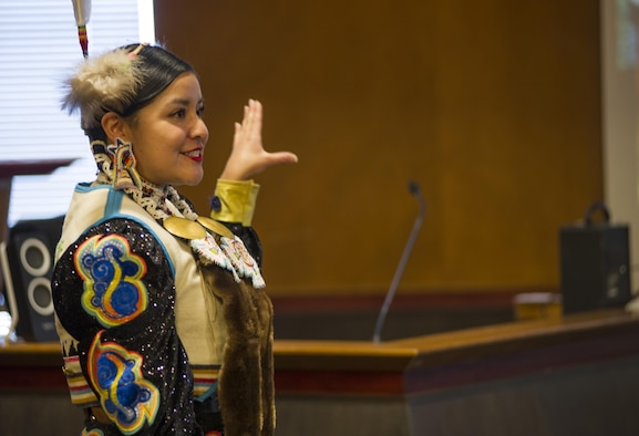 Staff Sgt. Antonia Thomas, 310th Operations Support Squadron, teaches a class on Native American Culture during Schriever's Diversity Day