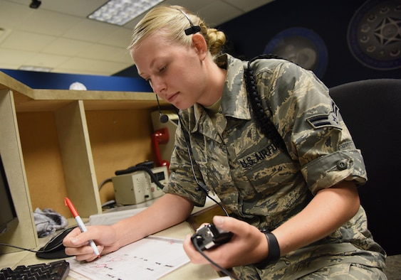 Airman 1st Class Brooke Dobbins, 334th Training Squadron student, reviews study material at Cody Hall Aug. 17, 2017, on Keesler Air Force Base, Miss. Dobbins will graduate with perfect scores throughout the aviation resource management apprentice course Aug. 18. After graduation she will return to the 465th Air Refueling Squadron, Tinker Air Force Base, Okla. (U.S. Air Force photo by Kemberly Groue)