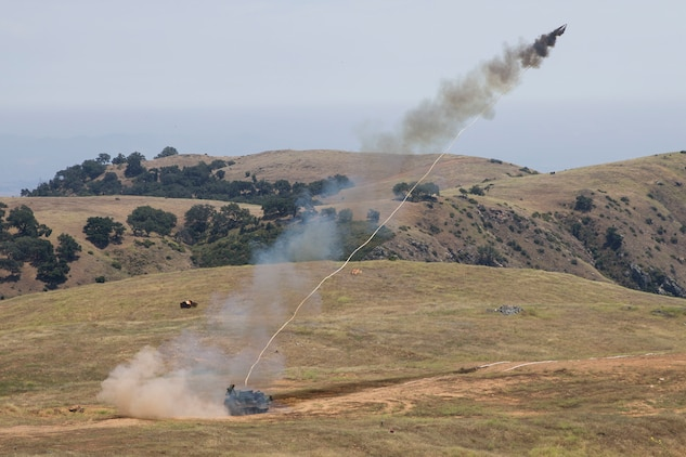 U.S. Marines with 3rd Assault Amphibian Battalion, 1st Marine Division, fire a MK-154 Launcher Mine Clearance on Camp Pendleton, Calif., June 23, 2017. Marine Corps Systems Command has reengineered the MK-154 with a new hydraulic and electrical system that makes the capability safer, more reliable and cheaper to maintain. (U. S. Marine Corps photo by Lance Cpl. Maritza Vela)