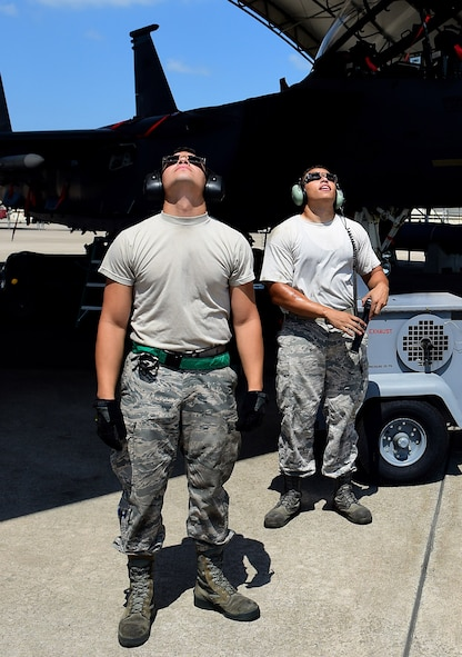 Members of Team Seymour use special eclipse glasses to view a solar eclipse, Aug. 21, 2017, at Seymour Johnson Air Force Base, North Carolina. During the short time when the moon completely obscures the sun, is it safe to look directly at the event. (U.S. Air Force photo by Airman 1st Class Kenneth Boyton)