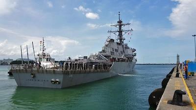 The destroyer USS John S. McCain arrives at Changi Naval Base, Singapore.